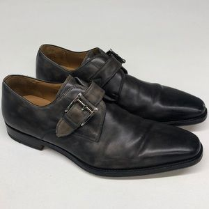 Magnanni Marco Weathered Gray Monk Strap Shoes 8